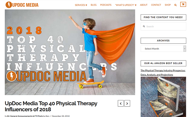 TOP 40 PHYSICAL THERAPY  INFLUENCERS